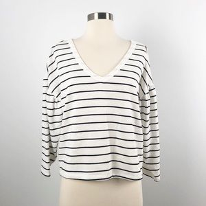 BP Oversized Cropped Top Striped White Medium